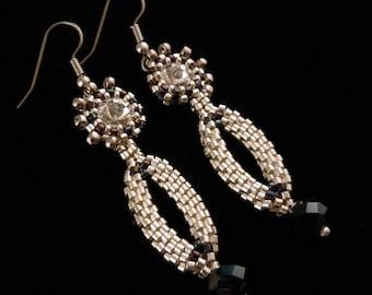 Silver Earrings, Crystals, Evening Earrings, Seed Bead Earrings, Ladies Earrings, Dangle, Drop Earrings, Bridesmaid, Delica Bead Earrings