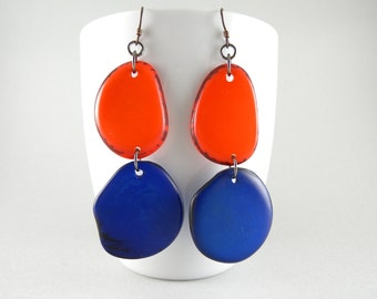 Tangerine Orange and Cobalt Blue Tagua Nut Eco Friendly Earrings with Free USA Shipping #taguanut #ecofriendlyjewelry