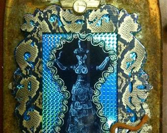 Snake Goddess of Knossos assemblage  art bricolage