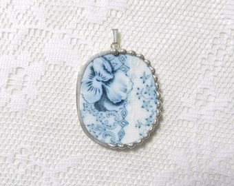 Broken China Jewelry Pendant Vintage Blue White Floral China