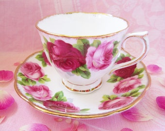 SALE...Vintage Royal Albert Teacup and Saucer Set...Bone China...Old English Roses..Perfectly Lovely!!!!
