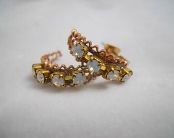 Vintage Filigree Hoop Earrings Opal Swarovski Stones