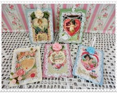 Valentine Wood Tags Set of 5, Greetings, Gifts, Hand Painted and Embellished, ECS, CSSTeam