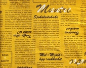 Lighthearted Kokka Mustard Text Half Yard