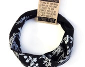 Herb print Eco Headband in Black // Organic Cotton // Hemp // Spandex