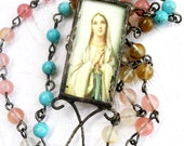 Virgin Mary Necklace, The Madonna, Our Mother Pendant, Bohemian Jewelry, Catholic Necklace, Religious Necklace, Bead Chain Gypsy Necklace