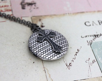 cross. locket necklace. silver ox jewelry round locket with weave pattern