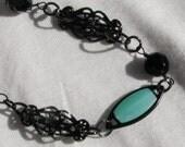Bohemian Black & Blue Necklace/ Choker ready for Summer
