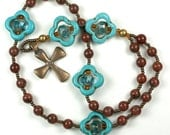 Anglican Ecumenical Rosary in Bronze Turquoise Stone and Cut Glass