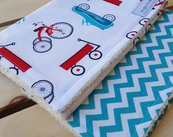 Baby Boy Burp Cloths / Retro Racer Burp Cloth Set / Burp Cloth Set