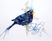 Blackbird watercolour painting. FLY! Original Unique artwork. Hand embroidered.