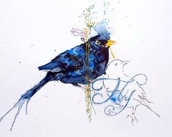 Blackbird Print. Bird Watercolour Art Print. FLY! Bird Art. British song bird.