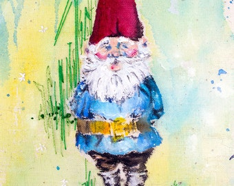 Garden Gnome painting. Original Unique artwork. Hand embroidery & Acrylic Painting. Framed.