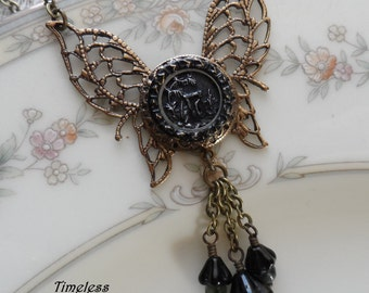 1/2 Price Sale!!! Garden Gate,  Antique Button Butterfly Necklace with Tourmaline Beads