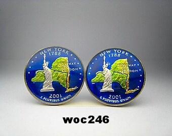 USA Quarter coin cufflinks New York 24mm