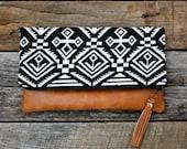 Black Upholstery Aztec Navajo Foldover Clutch