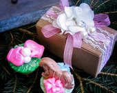 Two soap tarts beautifully boxed with vintage lace ribbons & dainty silk flowers - the perfect holiday stocking stuffer!