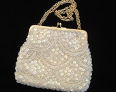 Beaded evening bag  white with sequins and carrying chain for women hand made in Hong Kong vintage