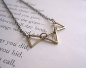 Golden Triangles charm necklace - petite triangles in a row - geometric jewellery - SALE