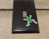 Lightswitch cover / plastic / copper enameled frog single toogle