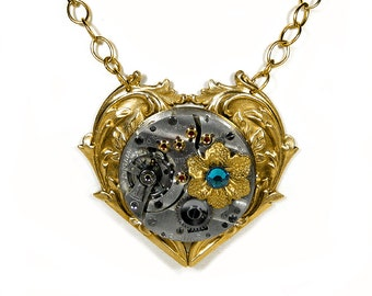 Steampunk Jewelry Gold Heart Necklace RARE Pocket Watch, Flower Turquoise Crystals, Anniversary Mothers Day, Fiancee - Jewelry by edmdesigns