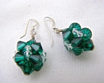 Swarovski Crystal Earrings,Earrings,Jewelry,Women's Jewelry,Crystal Balls,Emerald Green,Women's Earrings,Green Jewelry,Crystal Jewelry