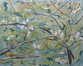 Art Original Large Landscape Oil Painting Impressionist Abstract Flower Apple Tree Spring Quebec Canada By Fournier '' Apple Blossom 24 x 30