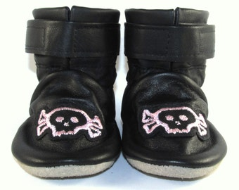 Soft Sole Black Leather Baby Skull Boots Shoes 6 to 12 Month