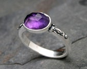 Majestic Amethyst Ring Solid Sterling Silver, Purple Amethyst Rose Cut Jewel, Faceted Oval Dome Gemstone Statement Ring, February Birthstone