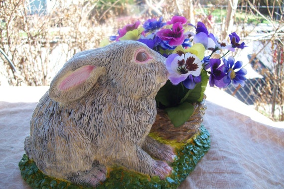 A Happy Rabbit and a basket of  flowers, fabric flowers, gray bunny, gray rabbit, ceramic, ceramic decor, gift, indoor decor, patio decor