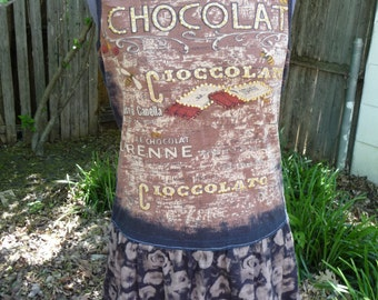 Upcycled Clothing, Chocolate Dress, Handmade Dress, Beaded Top, Brown Black Skirt, Recycled Clothing, Size Medium, Unique Clothing,Refashion