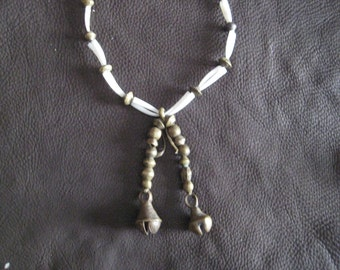 Necklace of Dentallium Shell, Antique African Bronze Beads and Bells