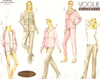 Womens Track Suit pattern Plus size athletics Exercise pattern for women Sewing pattern gym or jogging Vogue 2816 Uncut Sz 20 to 24
