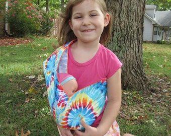 Doll Pouch Sling -  Rainbow Tie Dye Children's Toy Carrier - soft and cuddly