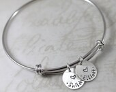 Mother's Day, Personalized gift, custom name, Charm Bracelet, Bangle Bracelet, Personalized Bracelet, Custom Hand Stamped, Minimal Bracelet