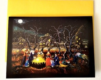 """Halloween frame-able greeting card """"The Lesson"""""""