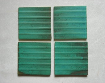 Relief Tiles Set of 4, Handmade Tiles, Unique Set of Tiles