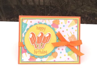 Happy Birthday Card, Orange and Lime Green with Orange Popsicles, for Teens, Females, Children