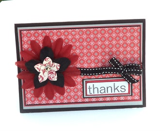 Clearance Thank You Card with Red and Black Flower, 5x7, Note Card, Thanks Card