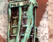 clay police box cabochon    verdigris  finish painted   supply art   jewelry handmade whovian findings England English