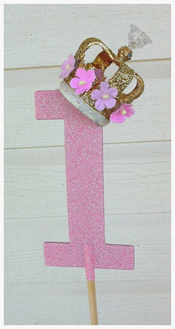 Items similar to Gold Royal Crown Number One Cake Topper ...