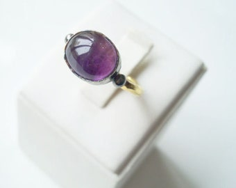 CHRISTMASS SALE-Unique SILVER Amethyst Stone ring