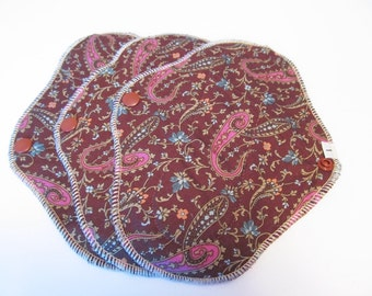 CLOTH PADS Set of 3  Pantyliners 8 inch - Chocolate Paisley Print FREE Shipping