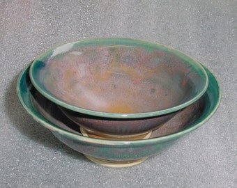 Set of 2 Bowls in Teal and Pink - Wheel Thrown Pottery - Nesting Bowls