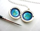 Personalized Locket Painting, Sterling Silver, Long Distance Relationship Gift