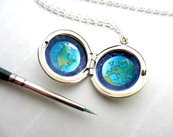 Personalized Sterling Silver Locket Painting, Custom Miniature for Long Distance Relationship