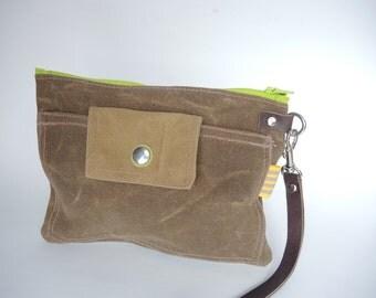 Brown Waxed canvas zipper case clutch travel storage mothers organizer diaper case make up bag minimalist clutch pencil case coachella