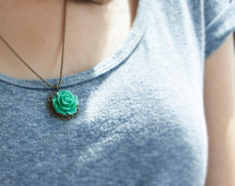 Resin Flower Pendant Brass Necklace Rose Neclace