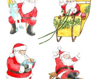 Santa Claus Watercolor Clip Art - Instant Download Santa Watercolor clipart - Christmas Santa Clip Art - Kids Christmas Clip Art