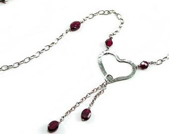Red Garnet, Heart Necklace. Silver Heart Necklace. Garnet, Sterling Silver, Forged Heart Necklace, Beaded Tassel Dangle. January Birthstone